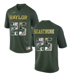 Baylor Bears #25 Lache Seastrunk Green With Portrait Print College Football Jersey2