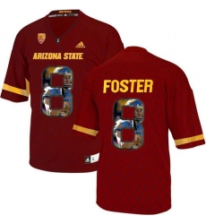 Arizona State Sun Devils #8 D.J. Foster Red Team Logo Print College Football Jersey8