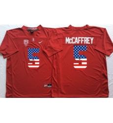 Stanford Cardinals #5 Christian McCaffrey Red USA Flag College Jersey