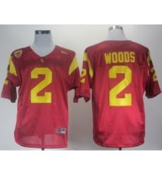 USC Trojans 2 Woods Red Pac-12 Patch Jerseys