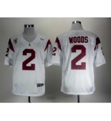 USC Trojans 2 Woods White Pac-12 Patch Jerseys