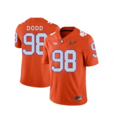 Clemson Tigers 98 Kevin Dodd Orange With Diamond Logo College Football Jersey