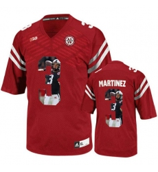 Nebraska Cornhuskers #3 Taylor Martinez Red With Portrait Print College Football Jersey
