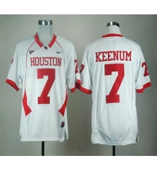 NCAA Houston Cougars Case Keenum 7 White C-USA Patch College Football Jerseys