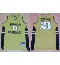 Wake Forest Demon Deacons #21 Tim Duncan Gold Basketball Stitched NCAA Jersey