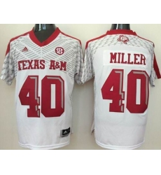 Texas A&M Aggies #40 Von Miller White SEC Patch Stitched NCAA Jersey