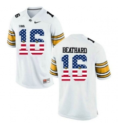 Iowa Hawkeyes #16 C.J Beathard White USA Flag College Football Limited Jersey