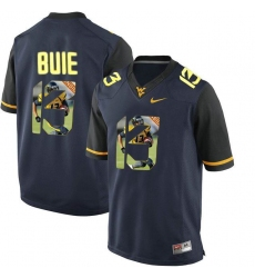West Virginia Mountaineers #13 Andrew Buie Navy With Portrait Print College Football Jersey2