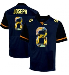 West Virginia Mountaineers #8 Karl Joseph Navy With Portrait Print College Football Jersey