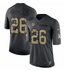 Youth Nike New York Giants #26 Saquon Barkley Limited Black 2016 Salute to Service NFL Jersey
