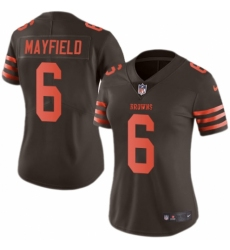 Women's Nike Cleveland Browns #6 Baker Mayfield Limited Brown Rush Vapor Untouchable NFL Jersey