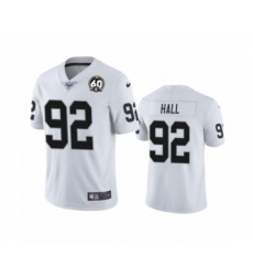 Men's Oakland Raiders #92 P.J. Hall White 60th Anniversary Vapor Untouchable Limited Player 100th Season Football Jersey
