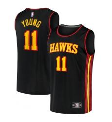 Youth Atlanta Hawks #11 Trae Young Fanatics Branded Black 2020-21 Fast Break Player Jersey