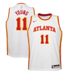 Youth Atlanta Hawks #11 Trae Young Nike White 2020-21 Swingman Jersey