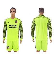 Atletico Madrid Blank Shiny Green Goalkeeper Long Sleeves Soccer Club Jersey2