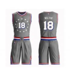 Men's Philadelphia 76ers #18 Shake Milton Swingman Gray Basketball Suit Jersey - City Edition