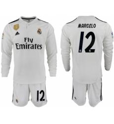 2018-19 Real Madrid 12 MAECELO Home Long Sleeve Soccer Jersey