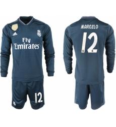 2018-19 Real Madrid 12 MARCELO Away Long Sleeve Soccer Jersey
