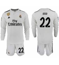 2018-19 Real Madrid 22 ISCO Home Long Sleeve Soccer Jersey