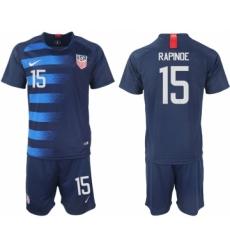 2018-19 USA 15 RAPINOE Away Soccer Jersey