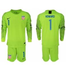 2018-19 USA 1 HOWARD Fluorescent Green Goalkeeper Long Sleeve Soccer Jersey