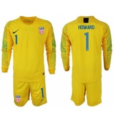2018-19 USA 1 HOWARD Yellow Goalkeeper Long Sleeve Soccer Jersey