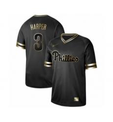 Men's Philadelphia Phillies #3 Bryce Harper Authentic Black Gold Fashion Baseball Jersey