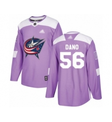 Men's Columbus Blue Jackets #56 Marko Dano Authentic Purple Fights Cancer Practice Hockey Jersey