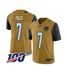 Youth Nike Jacksonville Jaguars #7 Nick Foles Limited Gold Rush Vapor Untouchable 100th Season NFL Jersey