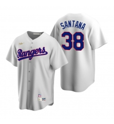 Men's Nike Texas Rangers #38 Danny Santana White Cooperstown Collection Home Stitched Baseball Jersey