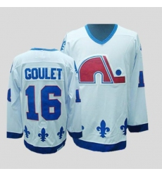 Nordiques #16 Michel Goulet Stitched CCM Throwback white NHL Jersey