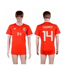Wales #14 Edwards Red Home Soccer Club Jersey