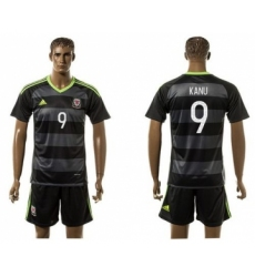 Wales #9 Kanu Black Away Soccer Club Jersey