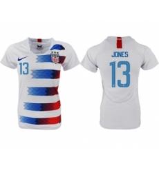Women's USA #13 Jones Home Soccer Country Jersey