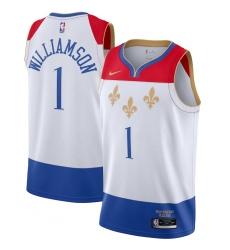 Men's New Orleans Pelicans #1 Zion Williamson Nike White 2020-21 Swingman Player Jersey