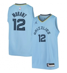 Youth Memphis Grizzlies #12 Ja Morant Jordan Brand Light Blue 2020-21 Swingman Player Jersey