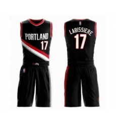 Men's Portland Trail Blazers #17 Skal Labissiere Swingman Black Basketball Suit Jersey - Icon Edition