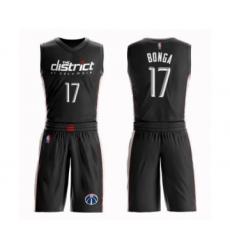 Men's Washington Wizards #17 Isaac Bonga Authentic Black Basketball Suit Jersey - City Edition