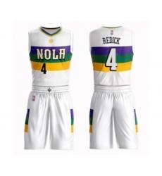 Men's New Orleans Pelicans #4 JJ Redick Swingman White Basketball Suit Jersey - City Edition