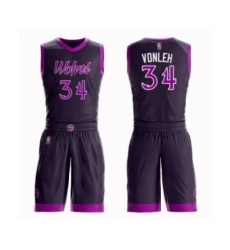 Men's Minnesota Timberwolves #34 Noah Vonleh Swingman Purple Basketball Suit Jersey - City Edition