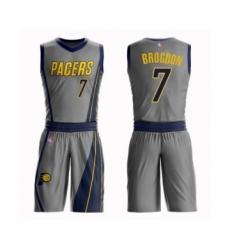 Men's Indiana Pacers #7 Malcolm Brogdon Swingman Gray Basketball Suit Jersey - City Edition