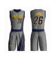 Men's Indiana Pacers #26 Jeremy Lamb Swingman Gray Basketball Suit Jersey - City Edition