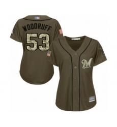 Women's Milwaukee Brewers #53 Brandon Woodruff Authentic Green Salute to Service Baseball Jersey