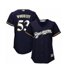 Women's Milwaukee Brewers #53 Brandon Woodruff Authentic Navy Blue Alternate Cool Base Baseball Jersey