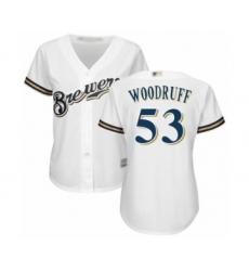 Women's Milwaukee Brewers #53 Brandon Woodruff Authentic White Alternate Cool Base Baseball Jersey