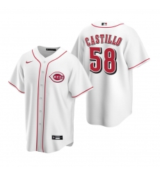 Men's Nike Cincinnati Reds #58 Luis Castillo White Home Stitched Baseball Jersey