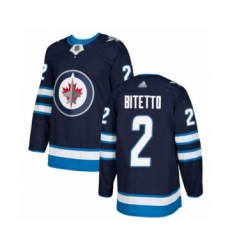 Men's Winnipeg Jets #2 Anthony Bitetto Authentic Navy Blue Home Hockey Jersey