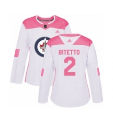 Women's Winnipeg Jets #2 Anthony Bitetto Authentic White Pink Fashion Hockey Jersey