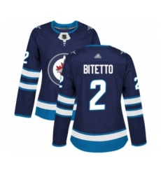 Women's Winnipeg Jets #2 Anthony Bitetto Premier Navy Blue Home Hockey Jersey