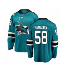 Men's San Jose Sharks #58 Dillon Hamaliuk Fanatics Branded Teal Green Home Breakaway Hockey Jersey